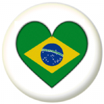 Brazil Country Flag Heart 25mm Pin Button Badge